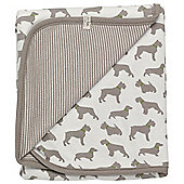Pigeon Organics Reversible Blanket, Creatures Print (Taupe Dog)