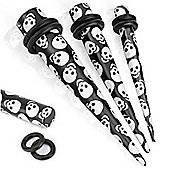 Urban Male Pack Of Six Acrylic Skull Design Black Ear Stretching Tapers