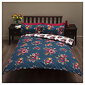 Cross Stitch Floral Print  Kingsize Duvet Set,  / Teal - Plum