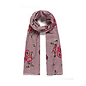 Pink Peony Embroidered Long Scarf
