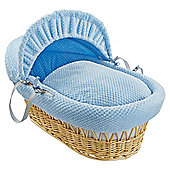 Clair De Lune Natural Wicker Moses Basket, Honeycomb Blue