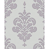 Superfresco Olana Textured Damask Lilac Wallpaper
