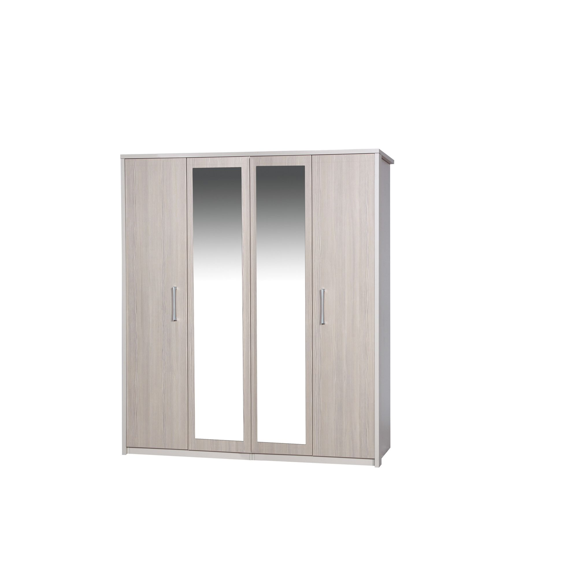 Alto Furniture Avola 4 Door Wardrobe with Mirror - Cream Carcass With Champagne Avola at Tesco Direct