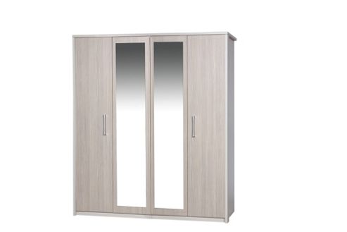 Alto Furniture Avola 4 Door Wardrobe with Mirror - Cream Carcass With Champagne Avola