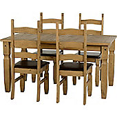 Corona Mexican 5' Dining Set Distressed Waxed Pine/Expresso Brown PU