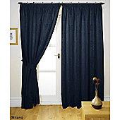 Milano Black Lined Pencil Pleat Curtains & Tiebacks - 90x90