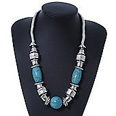 Ethnic Chunky Metal Bead & Turquoise Stone Necklace In Rhodium Plating - 52cm Length/ 6cm Extension