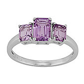 Gemondo Sterling Silver 1.42ct Natural Amethyst Baguette Cut Three Stone Ring