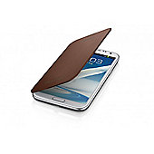 Samsung Galaxy Note 2 Clip-on Replacement Battery Cover with Leather Feel Flip Brown
