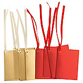 Tesco Folded Foil Gift Tags, Red & Gold, 8 Pack