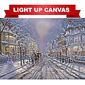 Victorian Snowy Christmas Scene LED Light Up Canvas