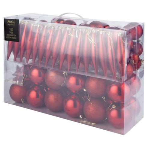 Festive Red Mixed Christmas Bauble Pack, 100 Piece