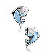 Jo For Girls Mother of Pearl Dolphin Stud Earrings