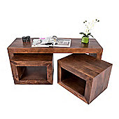 Homescapes Dakota Long John Coffee Table with 2 Cubes Dark Shade
