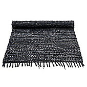 Rug Solid Black Rug - 90cm x 60cm (2 ft 11.5 in x 1 ft 11.5 in)