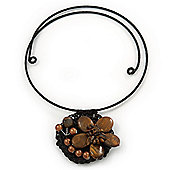 Brown Ceramic, Pearl 'Flower' Pendant Wired Choker Necklace - Adjustable