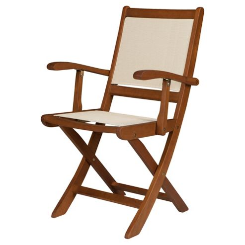 Windsor Folding Wood/Waterproof Woven Textile Garden Dining Arm Chair - 2 Pack