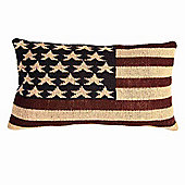 Homescapes Jacquard USA Flag Cushion Stars And Stripes Tapestry, 30 x 50 cm