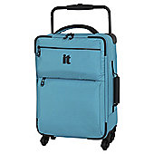IT Luggage World's Lightest 4-Wheel Turquoise Check Small Suitcase