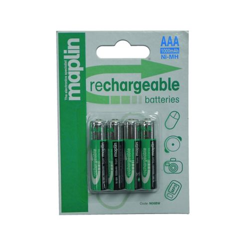 Maplin 1000Mah NiMh Rechargeable AAA Batteries 4 Pack