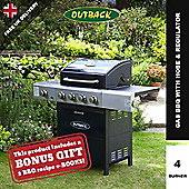 Outback Meteor Hooded 4 Burner Gas BBQ Blue Inc Gas Regulator