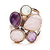 Shimla Ladies White/Pink Shell & Purple/Pink Agate Ring - SH-209ML