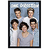 Black Wooden Framed One Direction Ruling The World Poster