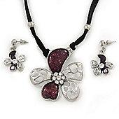 Purple Enamel Daisy Pendant Necklace & Drop Earrings Set On Suede Cord - 34cm Length (7cm extender)