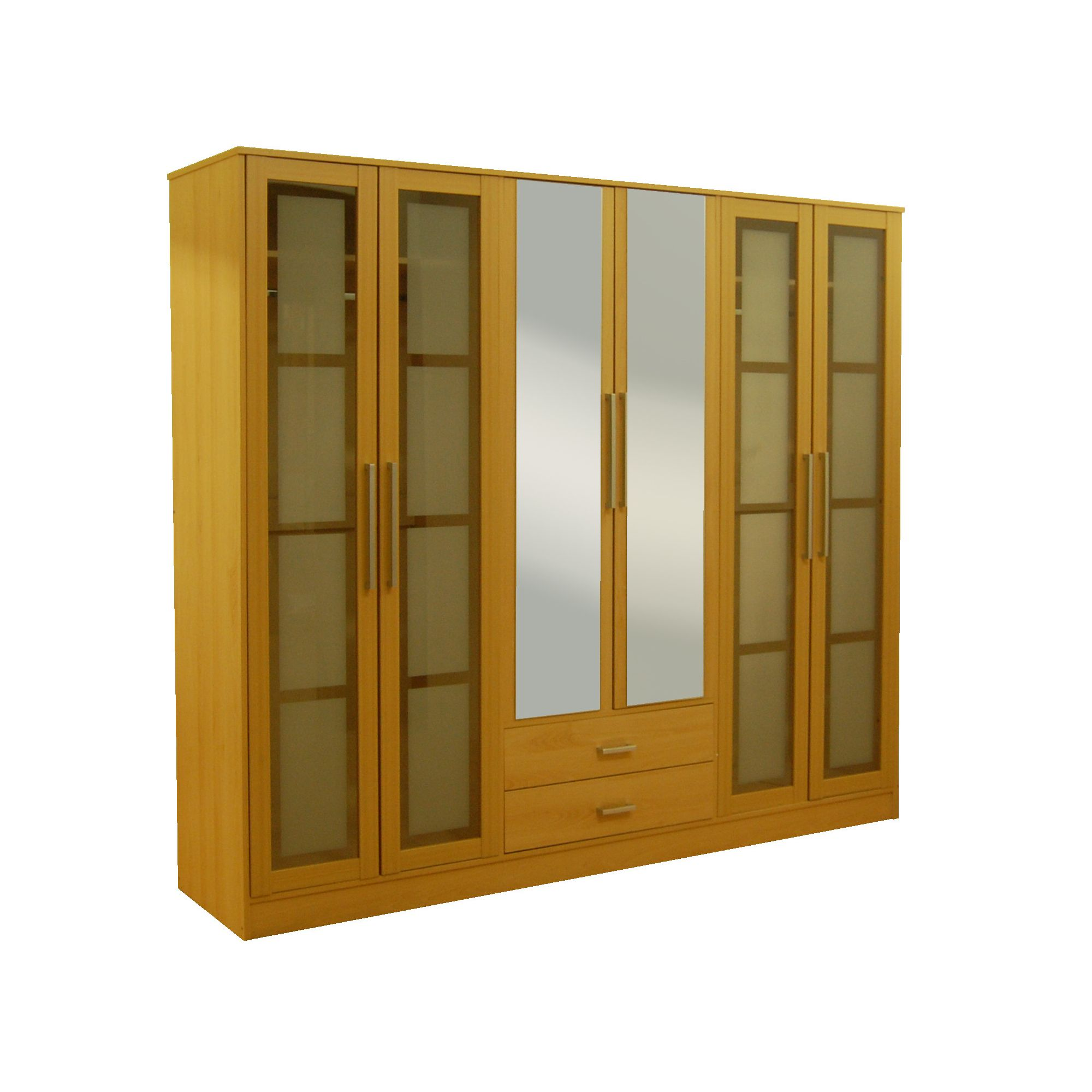 Kit Form Kit-form Glass Six Door Fitment Wardrobe in Beech at Tesco Direct