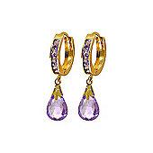 QP Jewellers 6.85ct Amethyst Droplet Huggie Earrings in 14K Gold