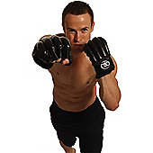 Fitness Mad Fingerless Leather Punch Bag Mitts - Black