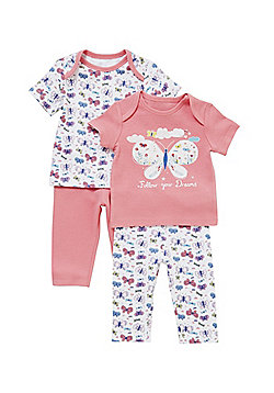 F&F 2 Pack of Butterfly Print Pyjamas - Pink