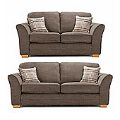 Aprilia High Back 3+2 Sofa Set – Brown