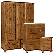 Nordic Pine Bedside, 2+4 Deep Drawer Chest, 3 Door 4 Drawer Robe Package