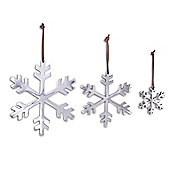 Set of Three Aluminum Christmas Snowflake Tree Decorations