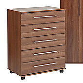 Ideal Furniture Bobby 5 Drawer Chest - Walnut