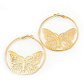 Gold Tone Filigree Butterfly Metal Hoop Earrings - 6cm Diameter