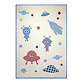 Esprit Little Astronauts White Children's Rug - 133 cm x 200 cm (4 ft 4 in x 6 ft 7 in)