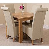 Oslo Solid Oak 90 cm Dining Table with 4 Ivory Montana Leather Chairs