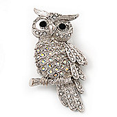 Sparkling AB Crystal Owl Brooch/ Pendant (Silver Tone Metal)
