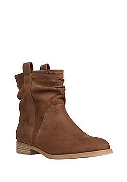 F&F Faux Suede Slouch Ankle Boots - Brown
