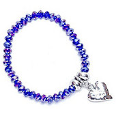 Blue AB Crystal Bracelet with Hammered Heart Droplet