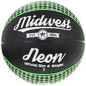 Midwest Neon Basketball Black/Green Size 7