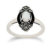 Gemondo Sterling Silver 0.26ct Opal & 8pt Marcasite Art Deco Ring