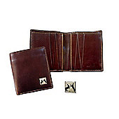Brown Leather Men's Wallet with Banksy style graffiti Sparring Hares emblem - By Tyler & Tyler