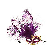 Purple Venetian Mask With Feathers