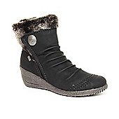 Ladies Rieker Noomi Black Ankle Boots - Black