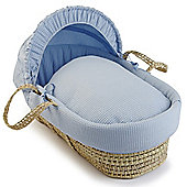 Clair de Lune Palm Moses Basket (Soft Waffle Blue)