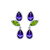 QP Jewellers Peridot & Amethyst Petal Earrings in 14K White Gold