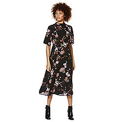 F&F Oriental Floral Print Midi Dress 12 Black
